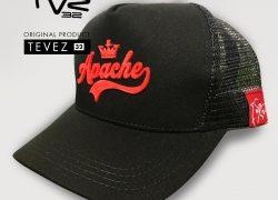 Gorra TVZ 32 Negra Estampado Relieve Apache Rojo